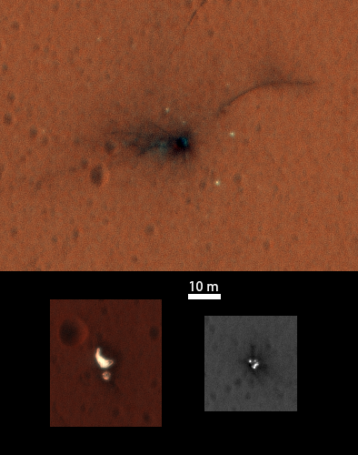 Composite of the ExoMars Schiaparelli module elements seen by NASA's Mars Reconnaissance Orbiter High Resolution Imaging Science Experiment (HiRISE) on 1 November 2016. Image Credit: NASA / JPL-Caltech / University of Arizona