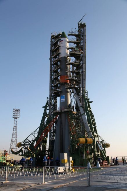 The Soyuz-U / Progress MS-04 in position on the launch pad