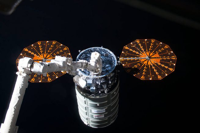 The S.S. Alan Poindexter Cygnus spacecraft arrived at the International Space Station late last month (Oct. 2016). Photo Credit: NASA posted on SpaceFlight Insider