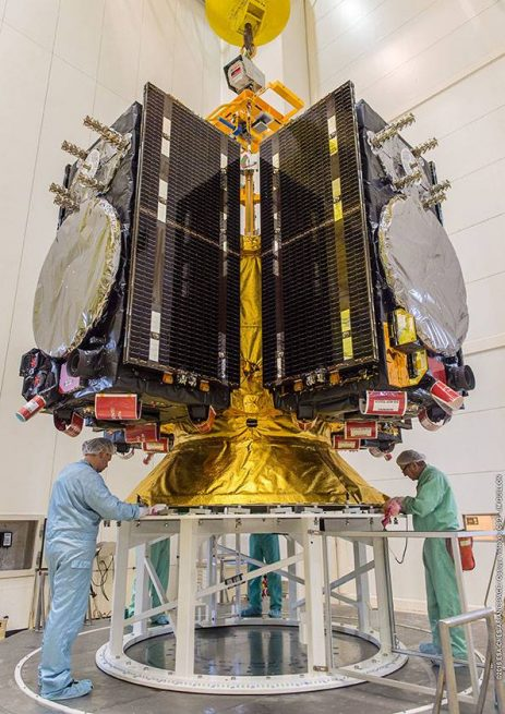 Engineers prepare four Galileo FOC satellites for the upcoming Nov. 17 liftoff.