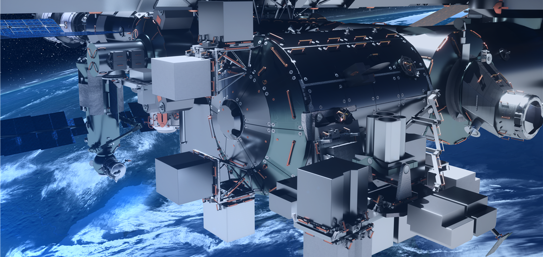 Artist's rendering of the Bartolomeo platform attached to the ISS Columbus Module.