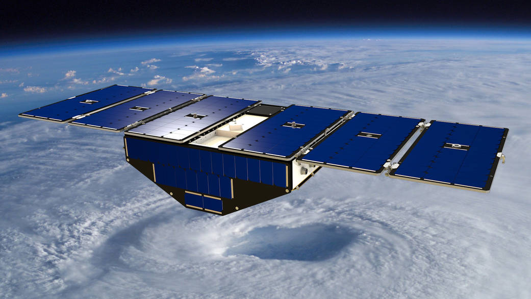 Artist's concept of one of the eight Cyclone Global Navigation Satellite System satellites deployed in space above a hurricane. Image Credit: NASA