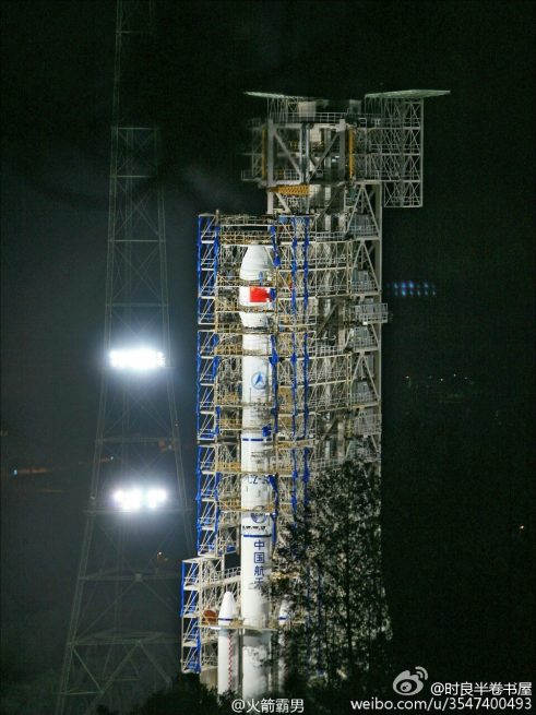 Long March 3C rocket with Tianlian-1 satellite stands tall at the Xichang Satellite Launch Center, awaiting Nov. 22 launch.