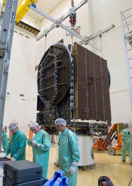 JCSAT-15 is processed in preparation for its installation atop Ariane 5.