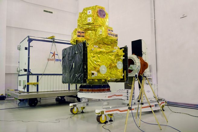 Resourcesat-2A in a clean room following its removal from the container.