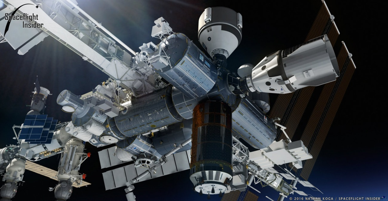 An artists rendering of Boeing's CST-100, top, and SpaceX's Crew Dragon, right, docked to the space station. Image Credit: Nathan Koga / SpaceFlight Insider