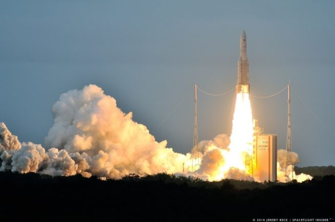 Liftoff of an Arianespace Ariane 5 rocket on mission VA 234. Photo Credit: Jeremy Beck / SpaceFlight Insider
