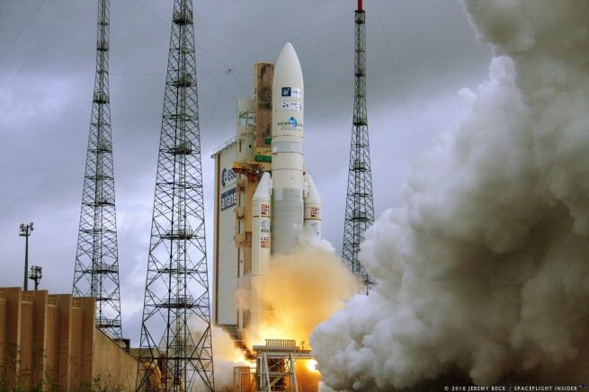 On 21 December 2016, Ariane 5 flight VA234 lifted off from Europe's Spaceport in French Guiana and delivered two telecom satellites, Star One-D1 and JCSat-15, into their planned orbits. Photo Credit: Jeremy Beck / SpaceFlight Insider