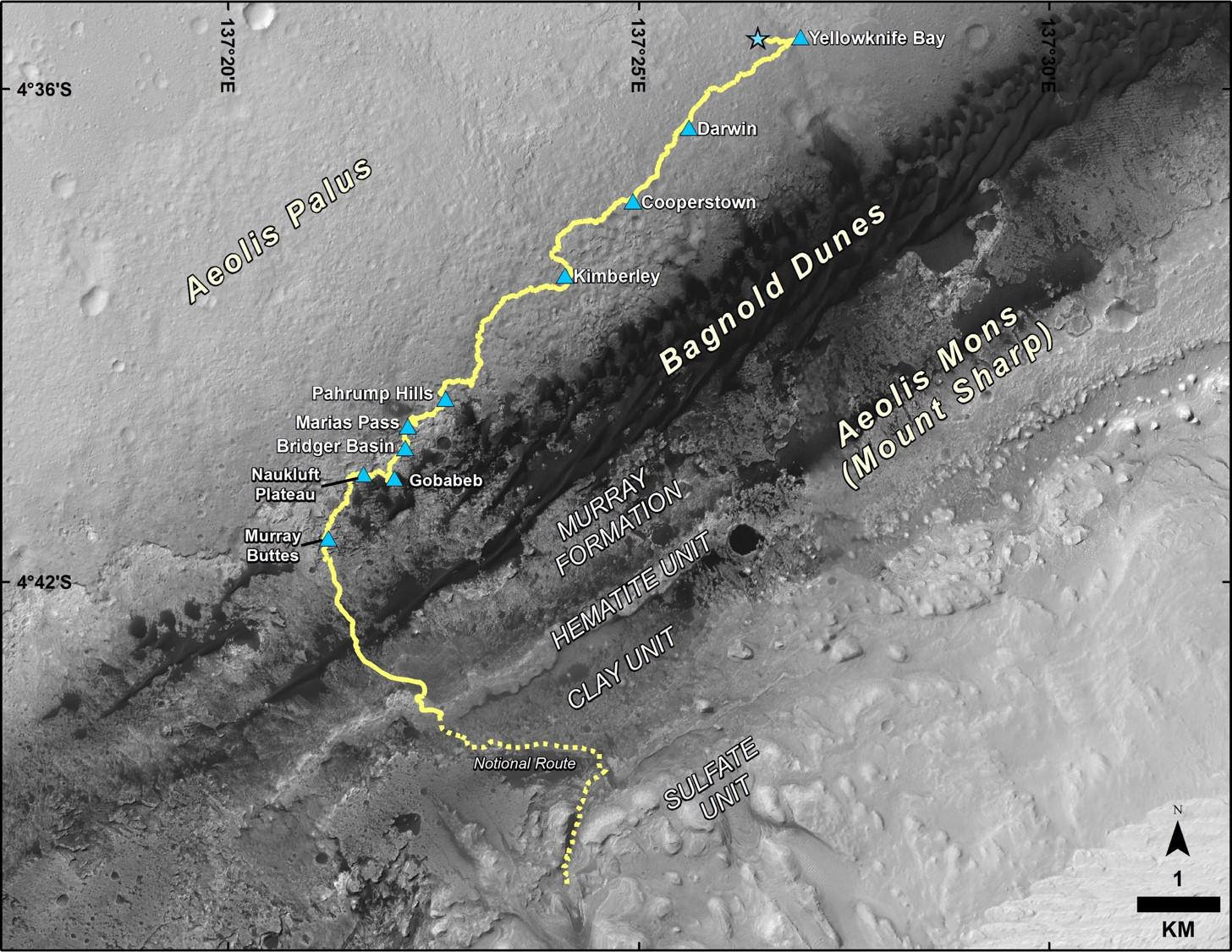 Curiosity's route from its landing point in August 2012 to its location in December 2016.