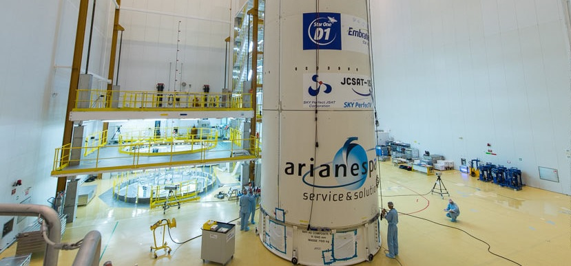 Star One D1 and JCSAT-15 satellite being encapsulated in the payload fairing.