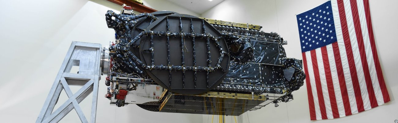 The Schostar 19 satellite in the clean room at Astrotech's facilities in Florida. Photo Credit: Space Systems Loral