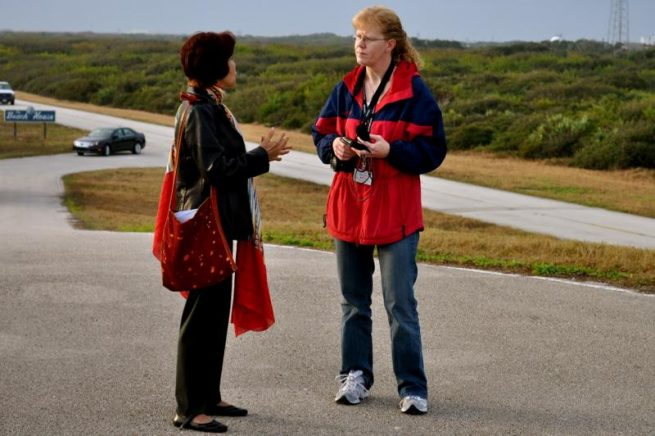 Atkinson interviews Solar Dynamics Observatory (SDO) scientist Lika Guhathakurta at Kennedy Space Center before the mission's launch in 2010. Photo Provided By: Nancy Atkinson