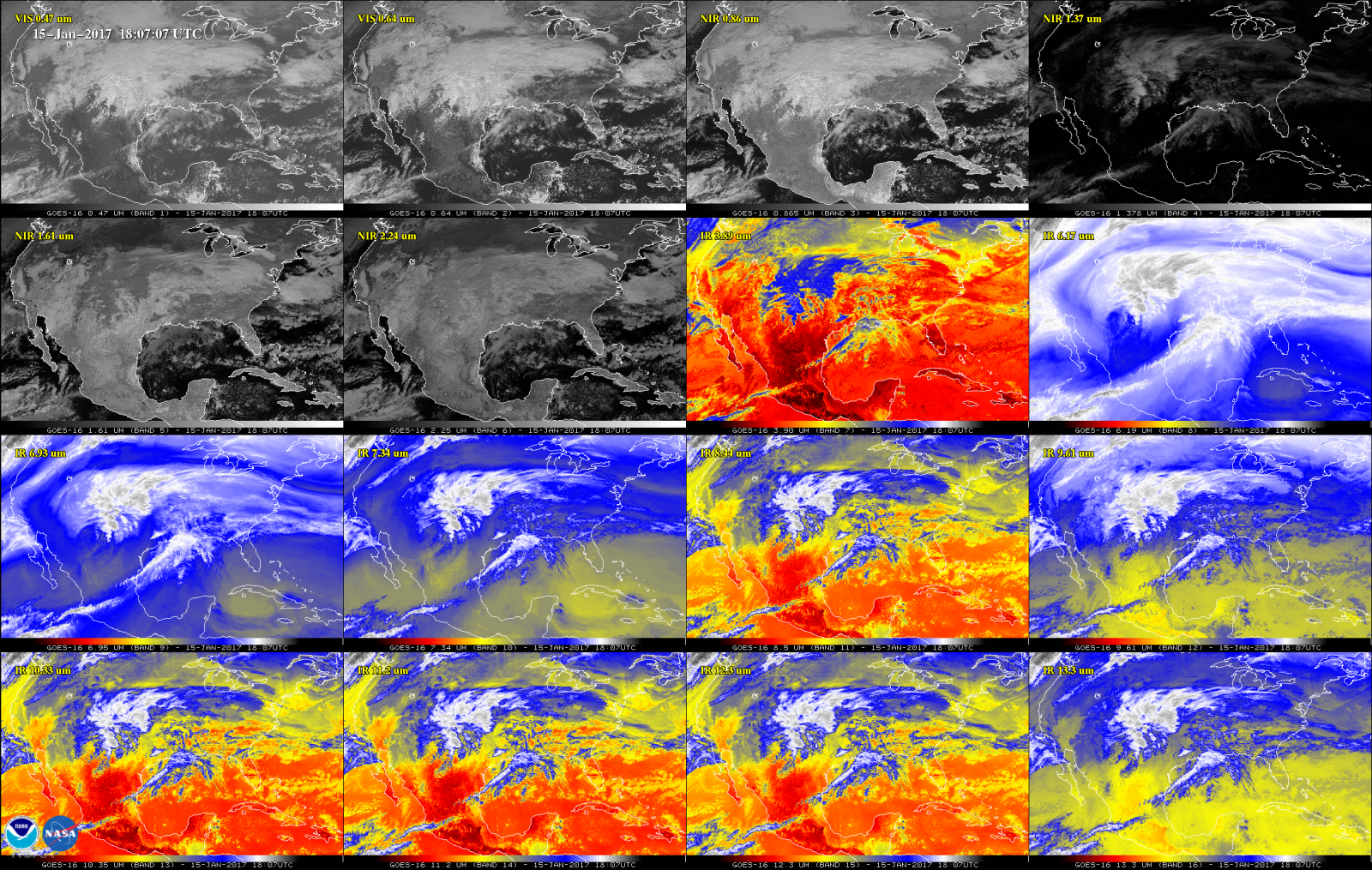 16-panel image of North America by GOES-16