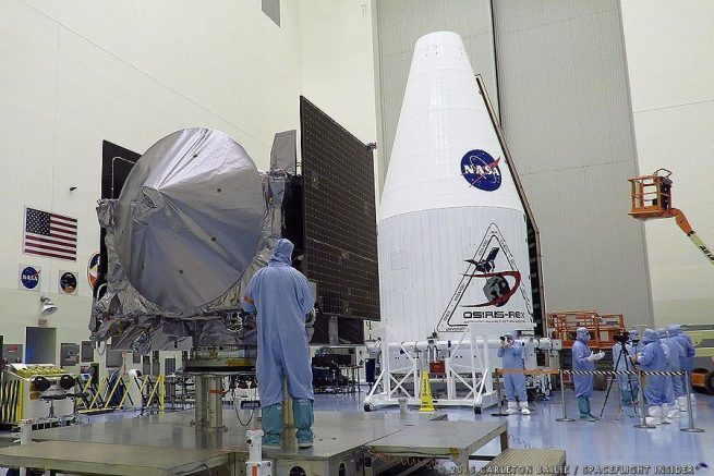 NASA's OSIRIS-REx spacecraft in the Payload Hazardous Servicing Facility (PHSF) at Kennedy Space Center in Florida. Photo Credit: Carleton Bailie / SpaceFlight Insider