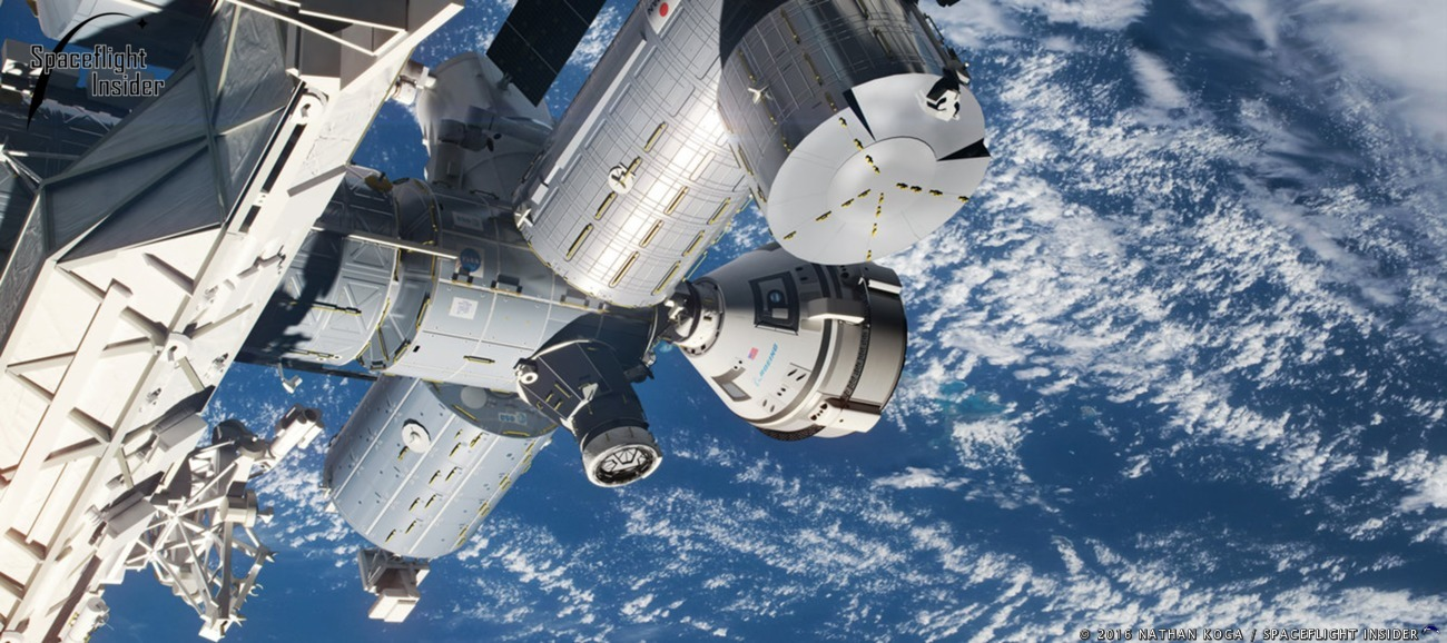 An artist's rendering of Starliner docked to the International Space Station. Image Credit: Nathan Koga / SpaceFlight Insider