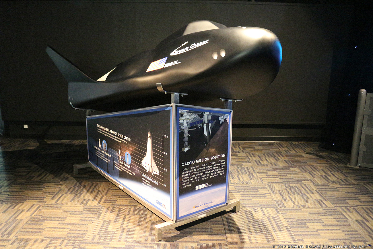 Mockup of Sierra Nevada Corporation's Dream Chaser space plane at the Kennedy Space Center Visitor Complex in Florida. Photo Credit: Michael John McCabe / SpaceFlight Insider