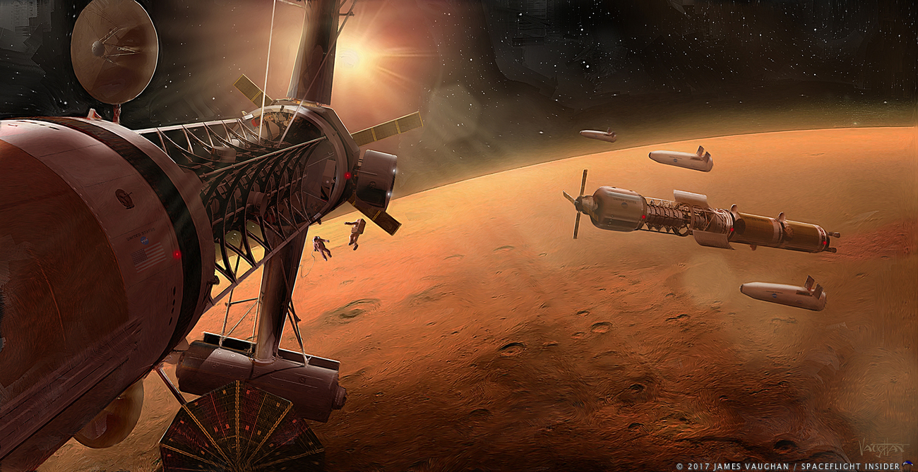 A fleet of spacecraft in orbit above the planet Mars as envisioned by James Vaughan. Image Credit: James Vaughan / SpaceFlight Insider