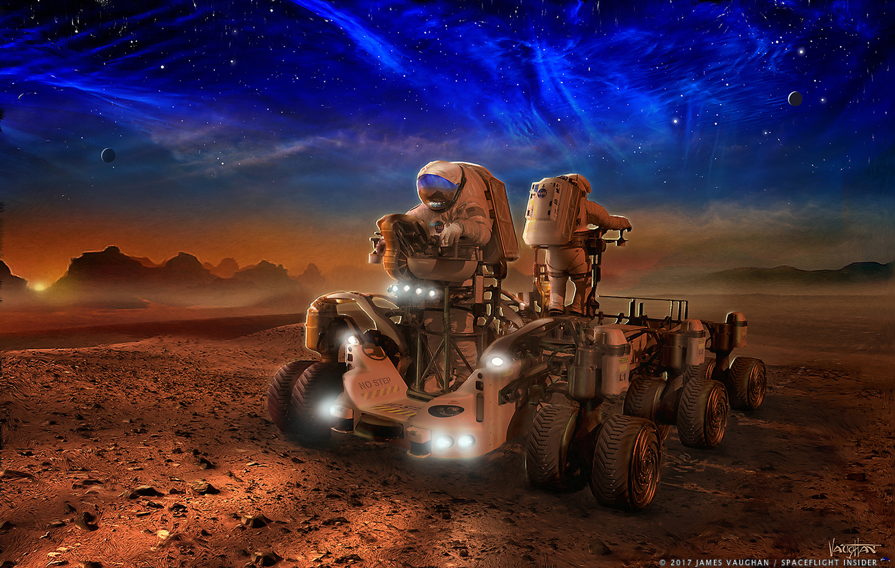 A NASA rover carries two astronauts as they explore the surface of the Red Planet. Image Credit: James Vaughan / SpaceFlight Insider
