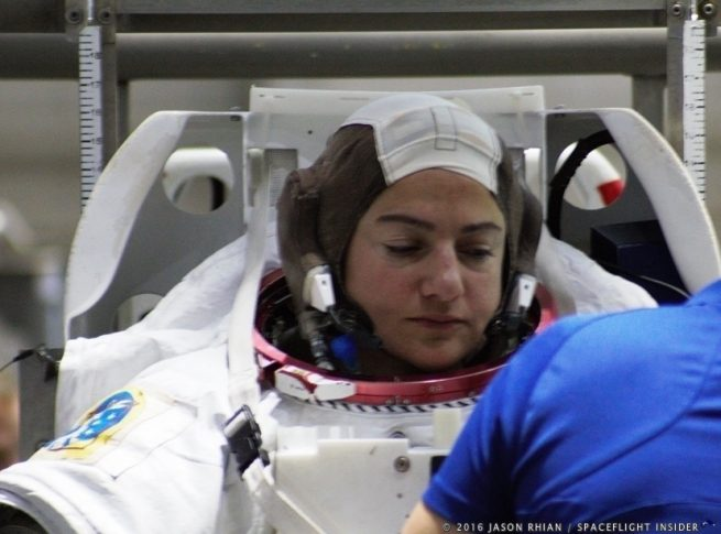 NASA astronaut Jessica Meir prepares to train at the Sonny Carter Neutral Buoyancy Lab near Johnson Space Center in Houston.
