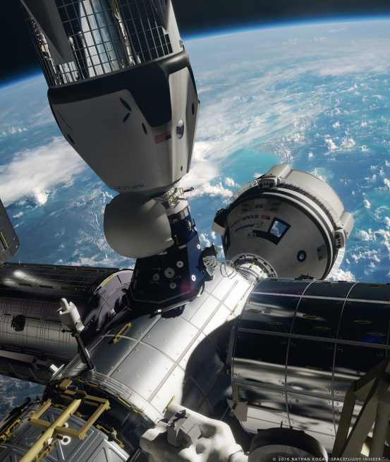 Boeing CST-100 and SpaceX Crew Dragon docked to International Space Station in this image produced by Nathan Koga for SpaceFlight Insider