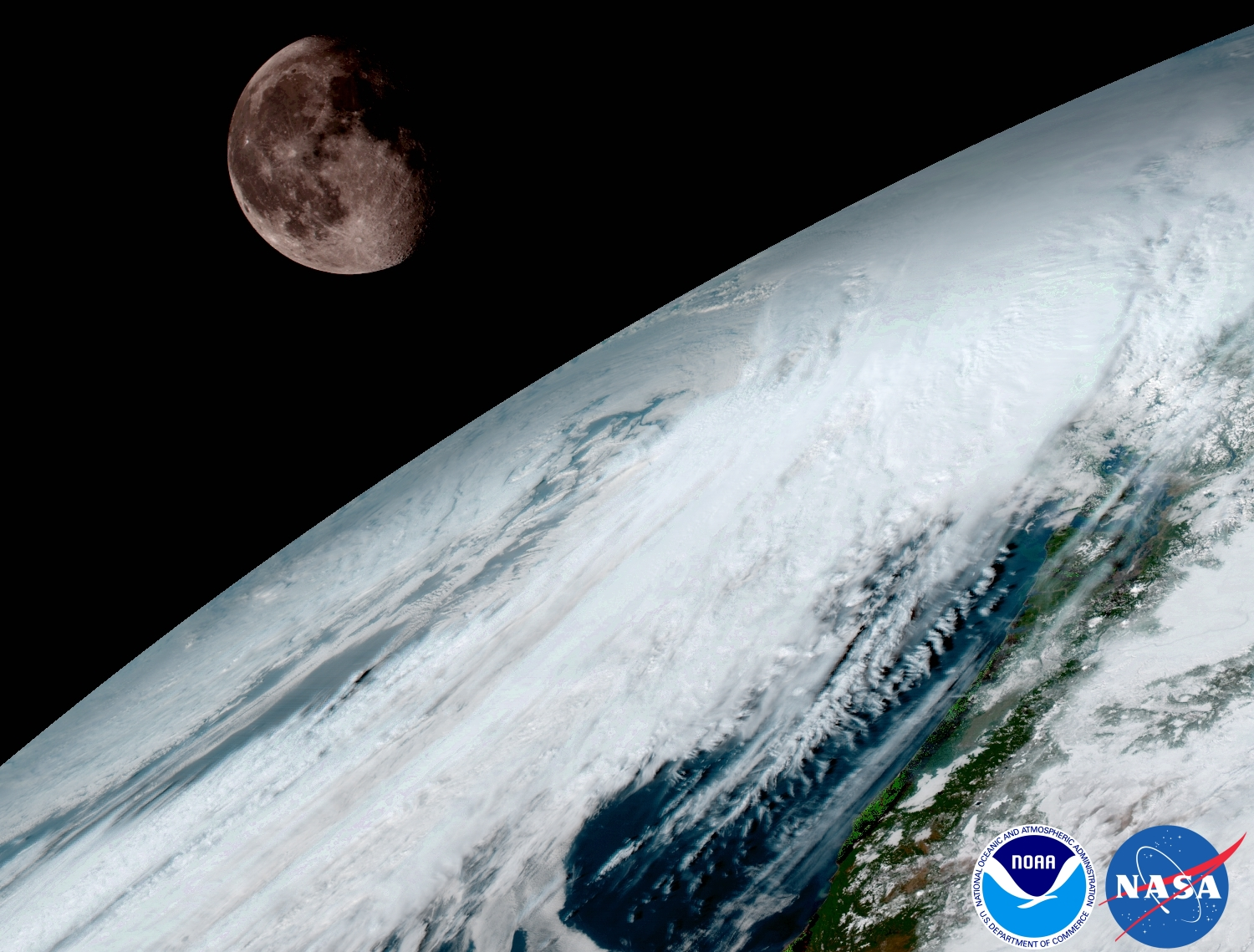 GOES-16 calibration image of Earth and the distant Moon.