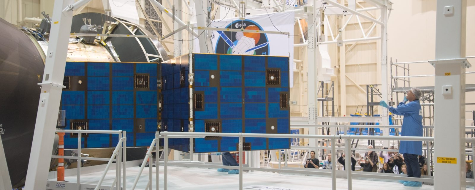 An Orion solar array panel at NASA's Plum Brook Station testing facility in Sandusky, Ohio.