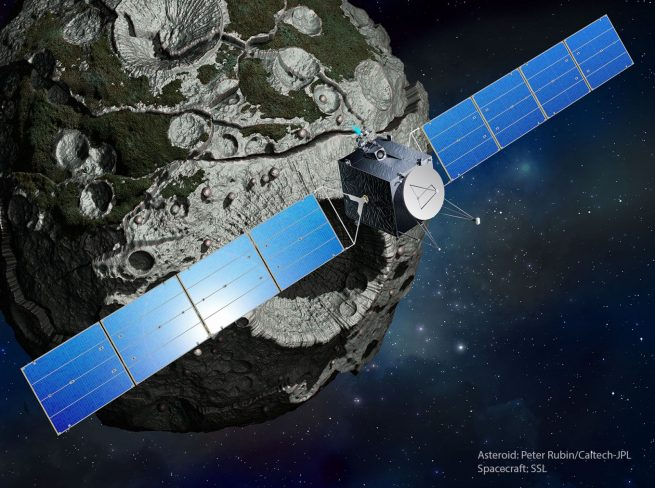NASA Psyche mission above asteroid NASA Space Systems Loral image posted on SpaceFlight Insider