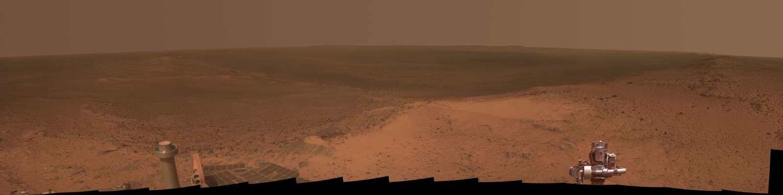 "Opportunity's view of ""Cape Tribulation"" ‒ a raised section of the rim of Endeavour Crater"
