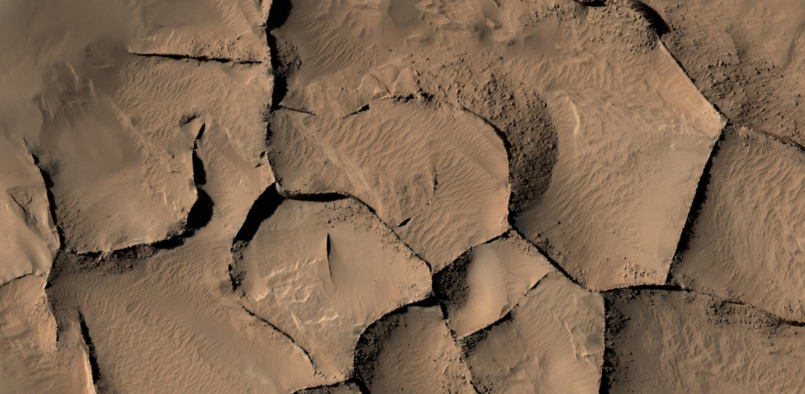 Blade-Like ridges on Mars outline polygons