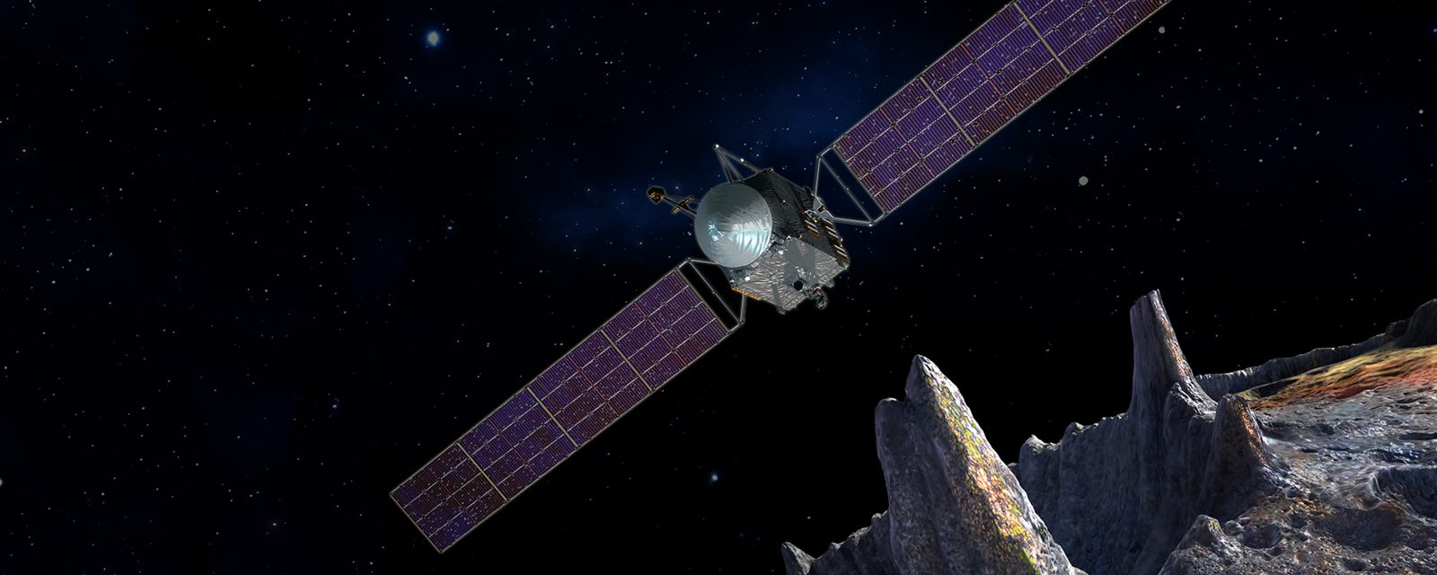 Psyche spacecraft at an asteroid