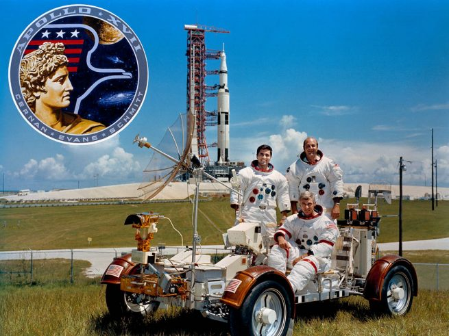 The crew of Apollo 17 - Upper left Harrison Jack Schmit upper right Ron Evans bottom center Eugene Cernan NASA photo posted on SpaceFlight Insider