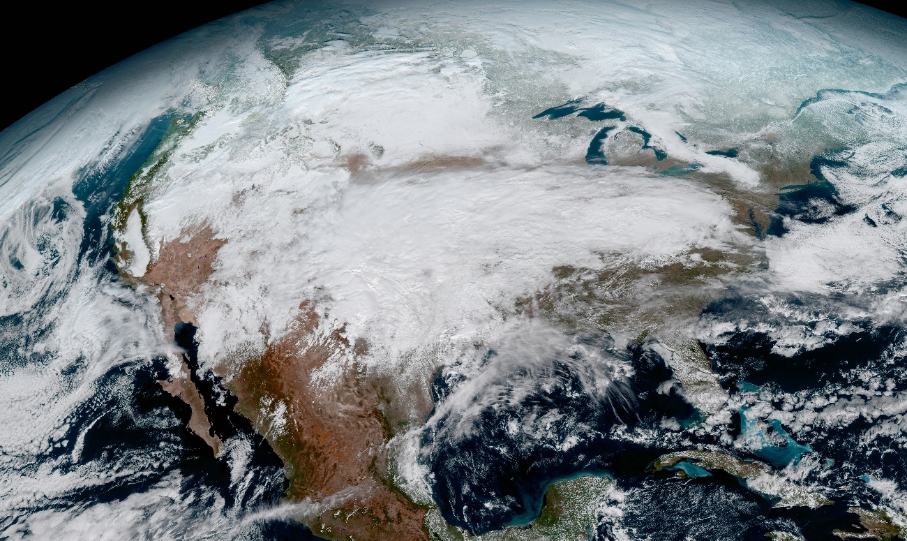 Close-up image of North America captured on January 15, 2017.
