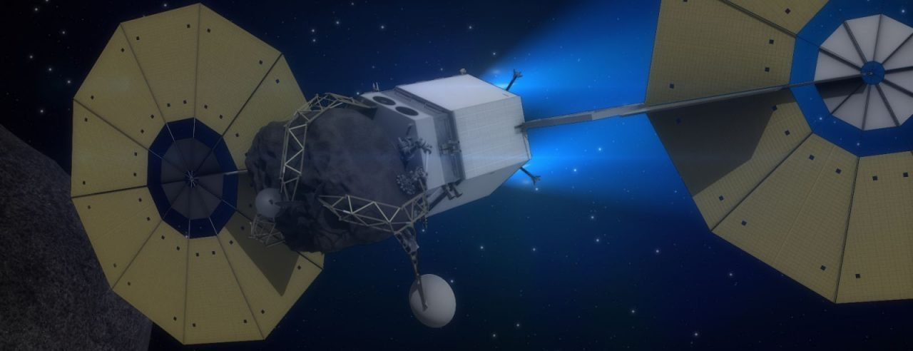 The Asteroid Redirect Vehicle, part of NASA's Asteroid Initiative concept, is shown traveling to lunar orbit using its solar electric propulsion system in this artist's concept. Image Credit: NASA