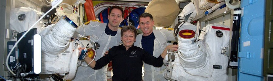 Thomas Pesquet, left, and Shane Kimbrough, right, pose with Peggy Whitson after completing EVA-39. Photo Credit: NASA