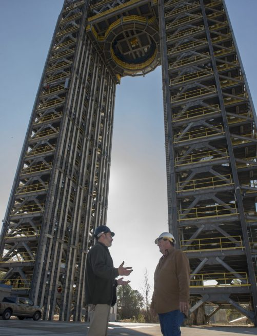Test Stand 4693 is the largest of two new Space Launch System test stands. Photo Credit: Emmett Given / NASA / Marshall Space Flight Center