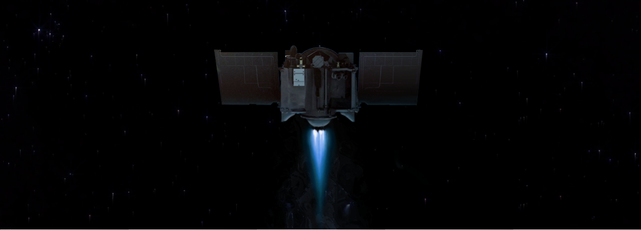 Artists concept of OSIRIS-REx executing its first deep space mneuver. Image Credit: University of Arizona