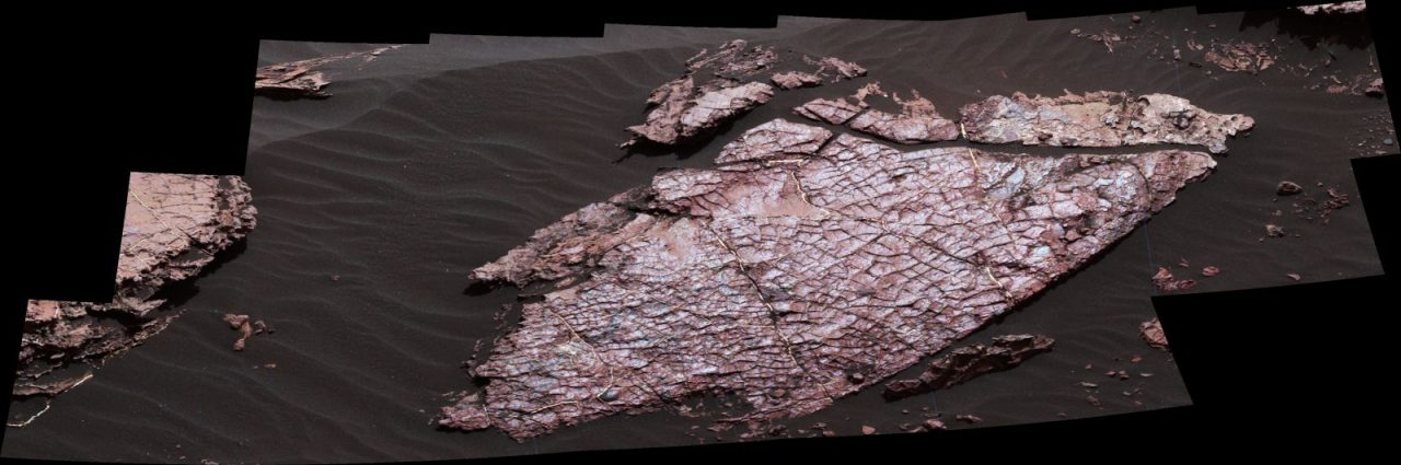 "This view of a Martian rock slab called ""Old Soaker,"" which has a network of cracks that may have originated in drying mud, comes from the Mast Camera (Mastcam) on NASA's Curiosity Mars rover. Image Credit: NASA/JPL-Caltech/MSSS"