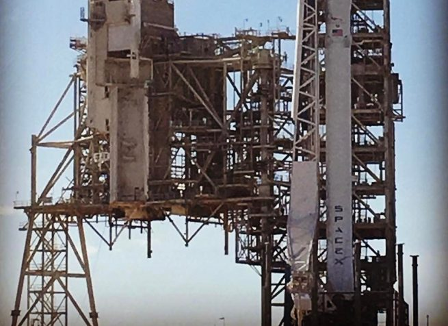 Falcon 9 vertical at Launch Complex 39A