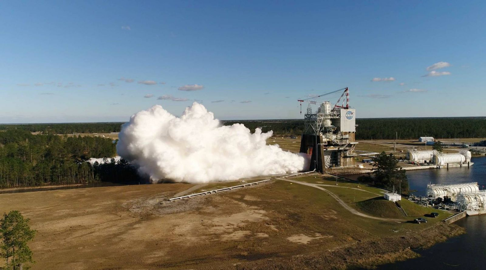 A-1 test stand RS-25 firing from a drone