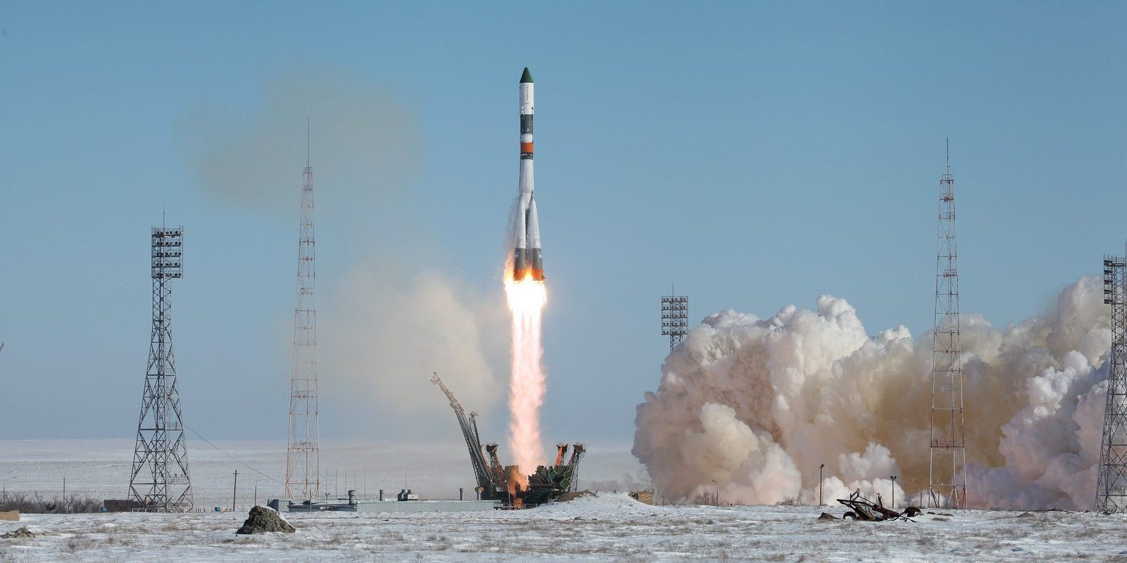 Soyuz-U launch vehicle together with the cargo transport spacecraft Progress MS-05