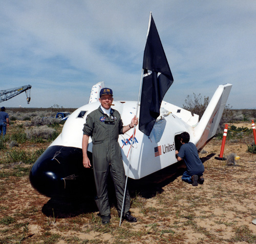 NASA X-38 flight test engineer Mike Fossum is all smiles following the first free flight of the first X-38 prototype in March 1998. Two months after this photo was taken Fossum was selected as an astronaut.