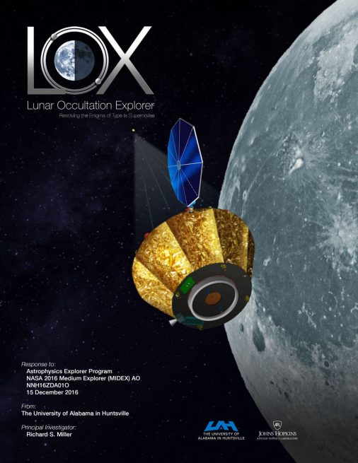 An artist's rendering of the LOX satellite orbiting the moon.