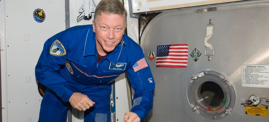 NASA astronaut Mike Fossum, Expedition 28 flight engineer, is pictured floating freely in the Harmony node of the International Space Station.