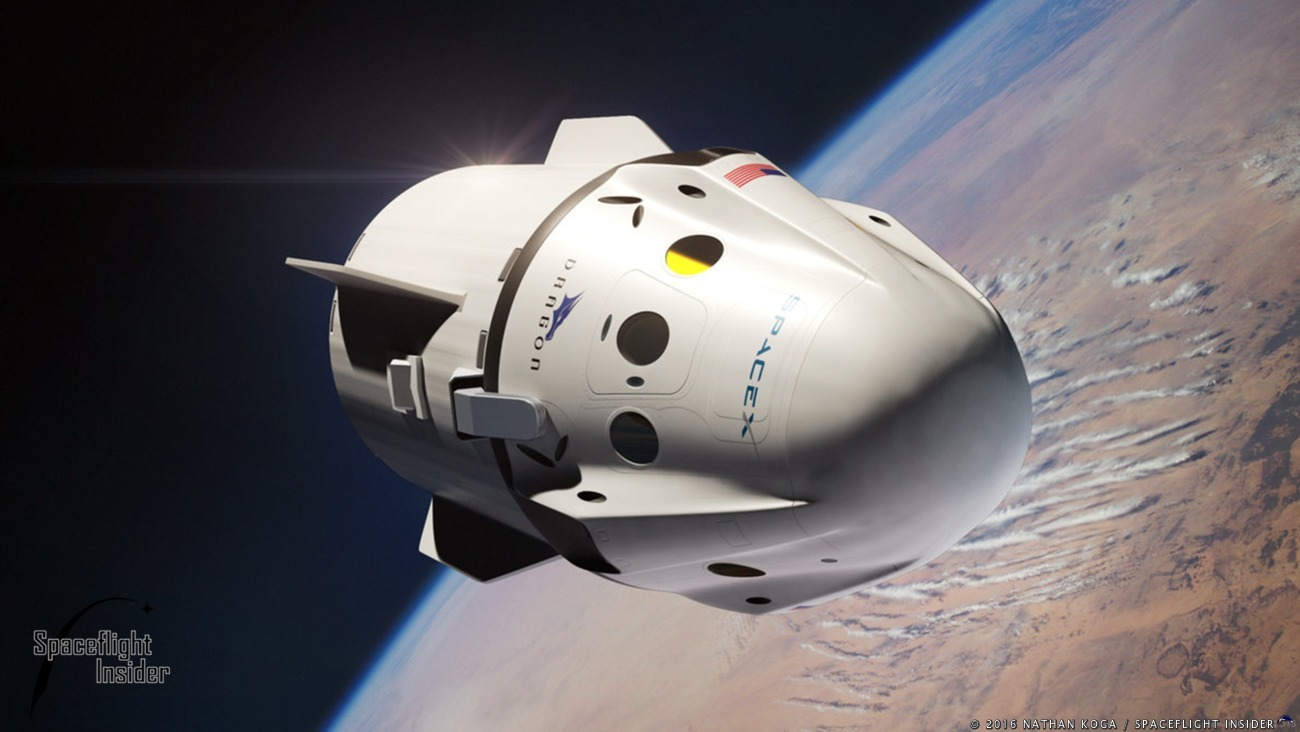 Commercial Crew Program: SpaceX Crewed Dragon spacecraft in orbit above Earth. Image Credit: Nathan Koga / SpaceFlight Insider