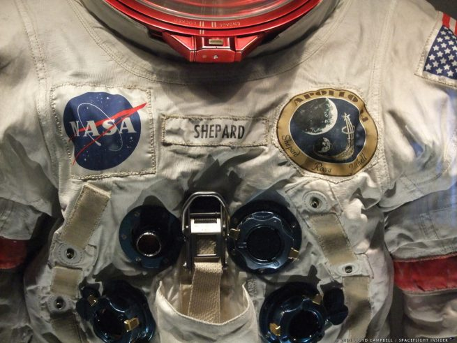 The spacesuit worn by Alan. B Shepard on Apollo 14. Photo Credit: Lloyd Campbell / SpaceFlight Insider