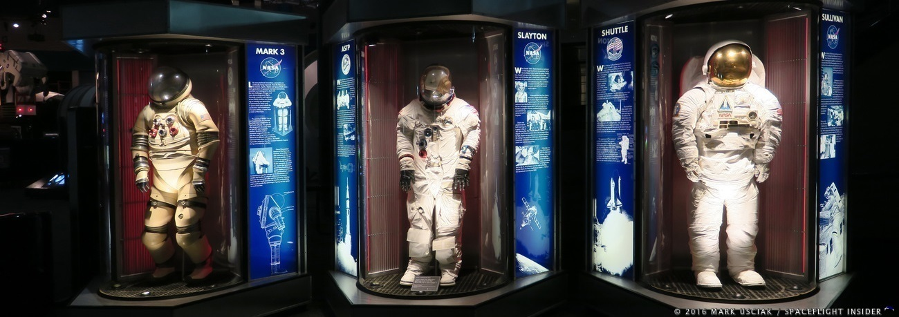 Several spacesuits on display at Space Center Houston. Photo Credit: Mark Usciak / SpaceFlight Insider