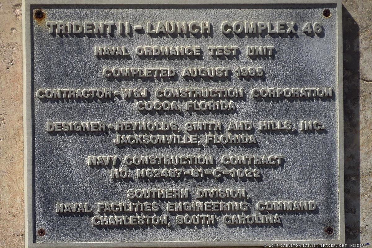 Plaque highlighting the history of Trident II launches at Launch Complex 46. Photo Credit: Carleton Bailie / SpaceFlight Insider