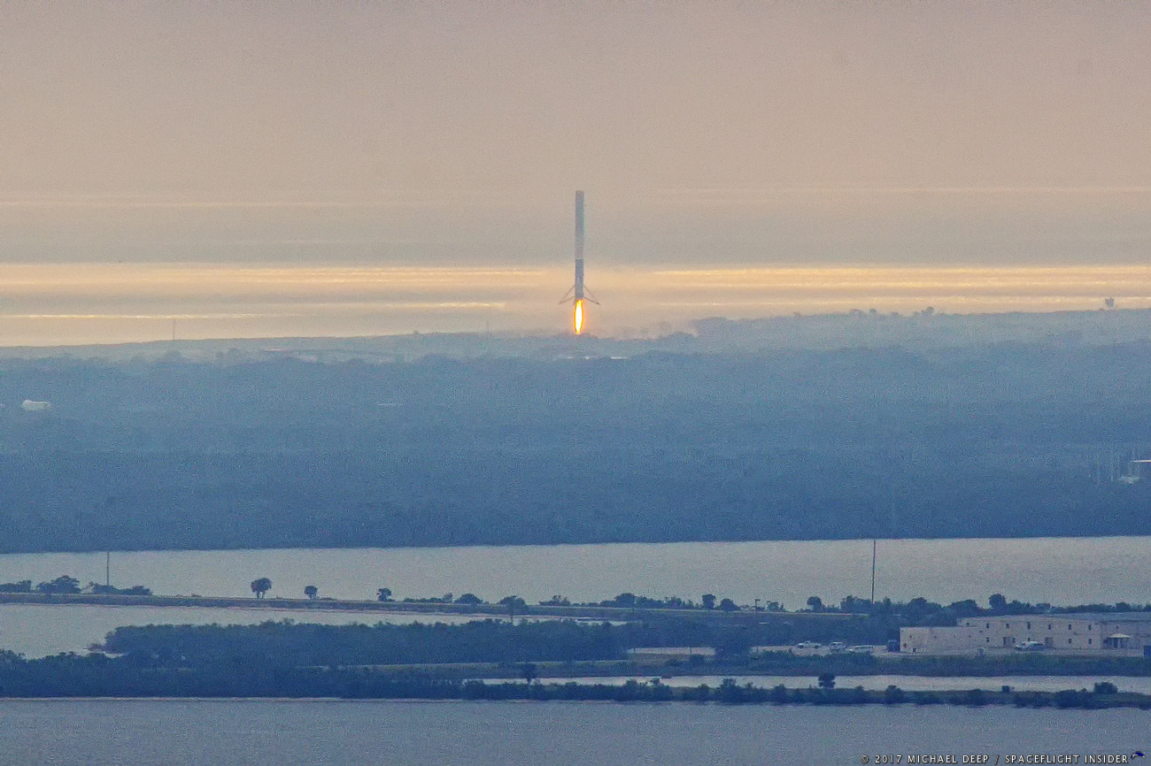 SpaceX Falcon 9 touches down at LZ-1 (formerly LC-13) at Cape Canaveral Air Force Station in Florida. Landing took place at 9:47 a.m. EST (14:47 GMT).Cape Canaveral Air Force Station's Landing Zone 1. The Eastern Range is working to automate flight safety systems in order to handle the growing demand for space access.