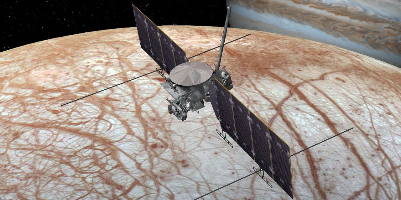 This artist's rendering shows NASA's Europa mission spacecraft, which is being developed for a launch sometime in the 2020s. Image Credit: NASA/JPL-Caltech