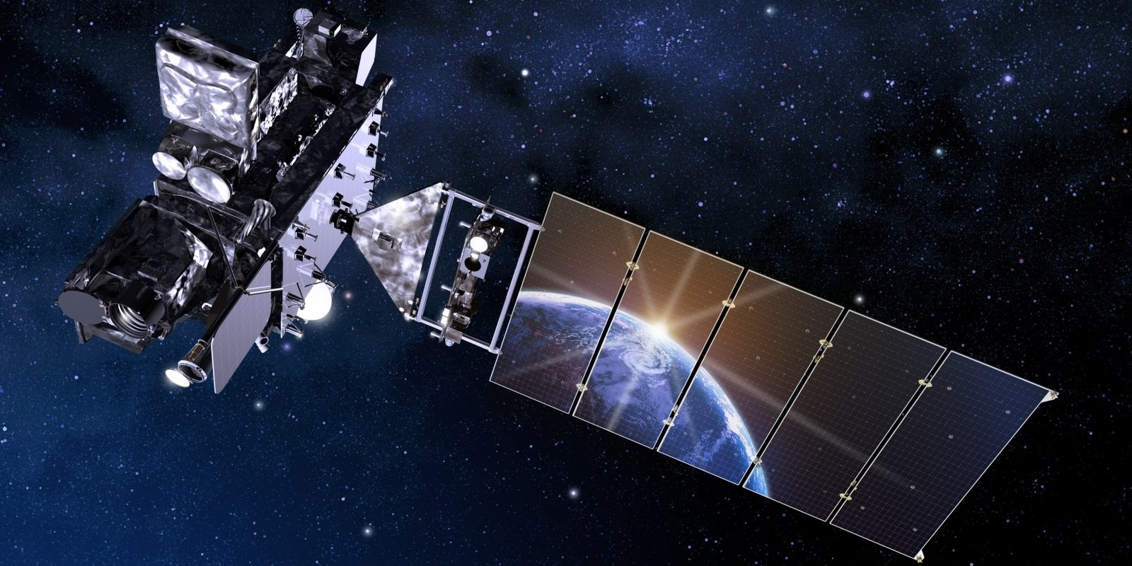 Artist's rendering of the GOES-16 satellite in orbit.